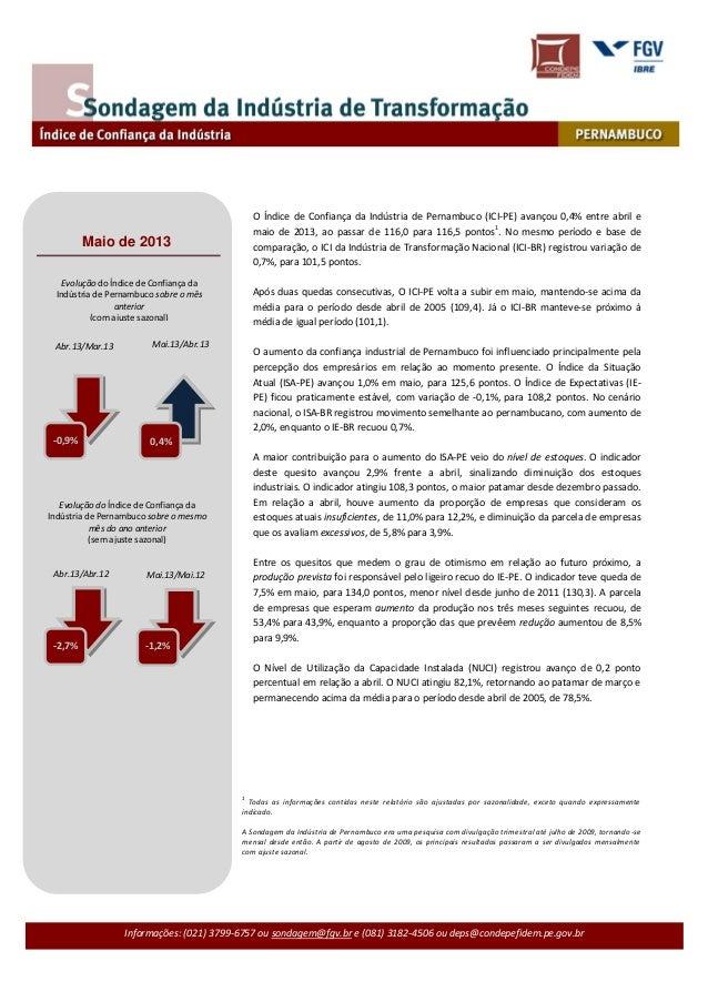 Informações: (021) 3799-6757 ou sondagem@fgv.br e (081) 3182-4506 ou deps@condepefidem.pe.gov.brO Índice de Confiança da I...