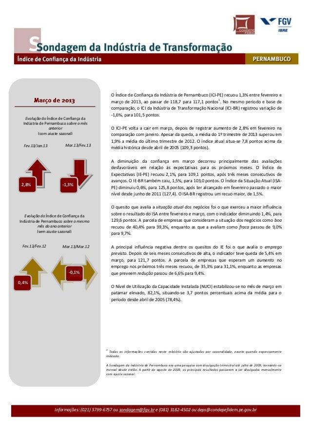 O Índice de Confiança da Indústria de Pernambuco (ICI-PE) recuou 1,3% entre fevereiro e                                   ...