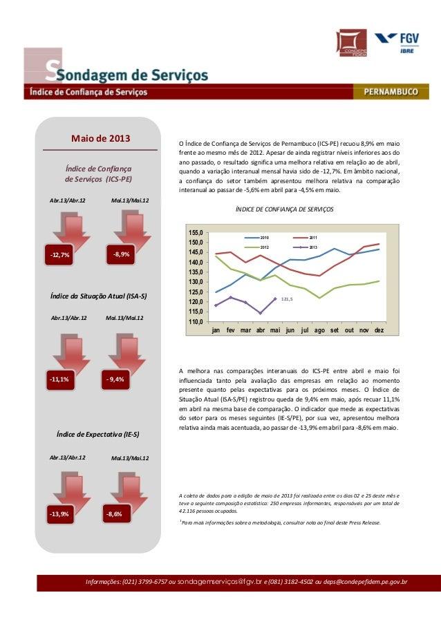 Informações: (021) 3799-6757 ou sondagemserviços@fgv.br e (081) 3182-4502 ou deps@condepefidem.pe.gov.brO Índice de Confia...