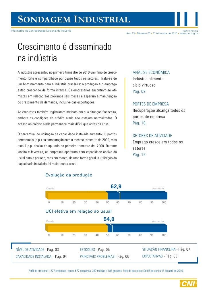 SONDAGEM INDUSTRIAL Informativo da Confederação Nacional da Indústria                                                     ...