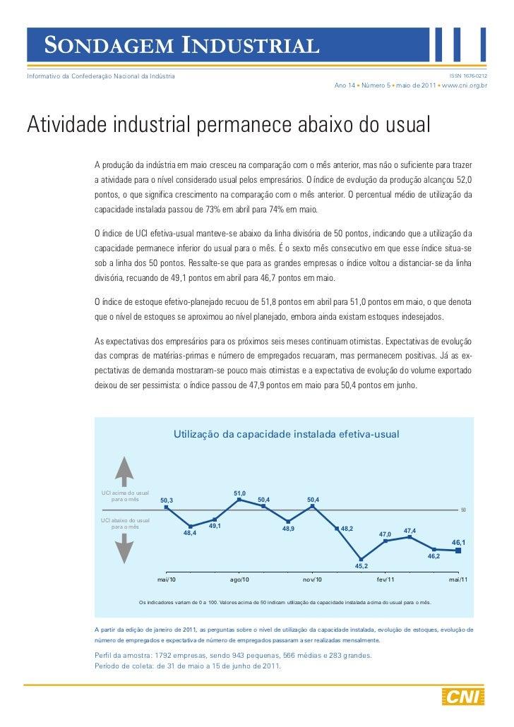 SONDAGEM INDUSTRIALInformativo da Confederação Nacional da Indústria                                                      ...