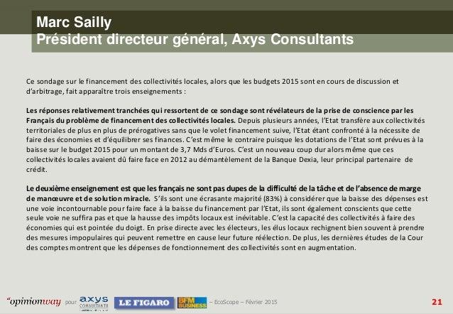 21pour – EcoScope – Février 2015 Marc Sailly Président directeur général, Axys Consultants Ce sondage sur le financement d...