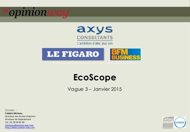 1pour – EcoScope – Janvier 2015 EcoScope Vague 3 – Janvier 2015 Contact : Frédéric Micheau Directeur des études d'opinion ...