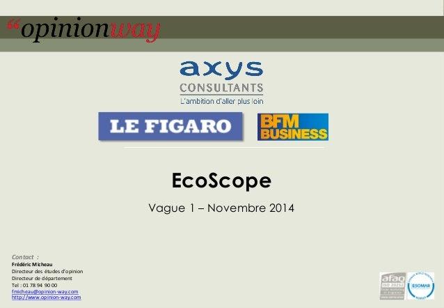 1  pour –EcoScope–Novembre 2014  EcoScope  Vague 1 –Novembre 2014  Contact:  Frédéric Micheau  Directeur des études d'opin...
