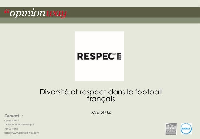 """1  Pour Respect Mag – Diversité et respect dans le football français – Mai 2014  """"opinionway  Contact :  OpinionWay  15 pl..."""