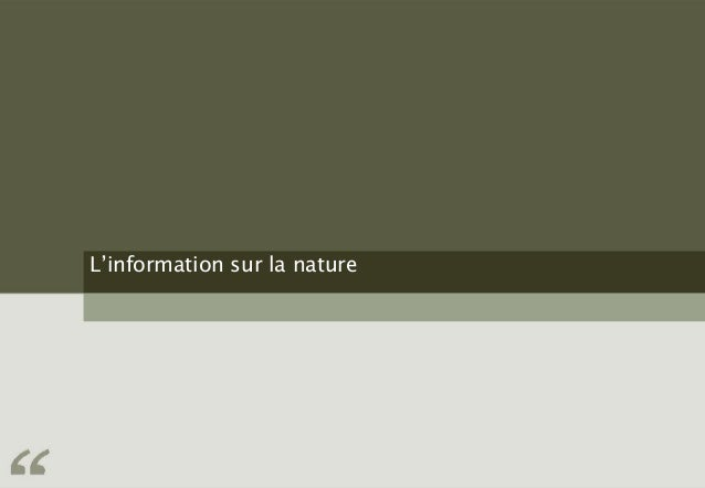 L'information sur la nature