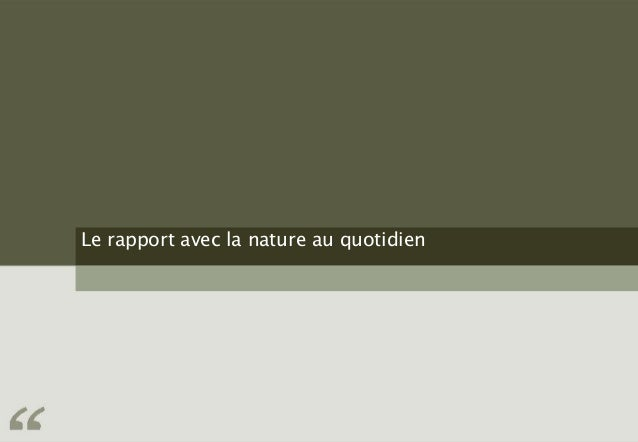 Le rapport avec la nature au quotidien