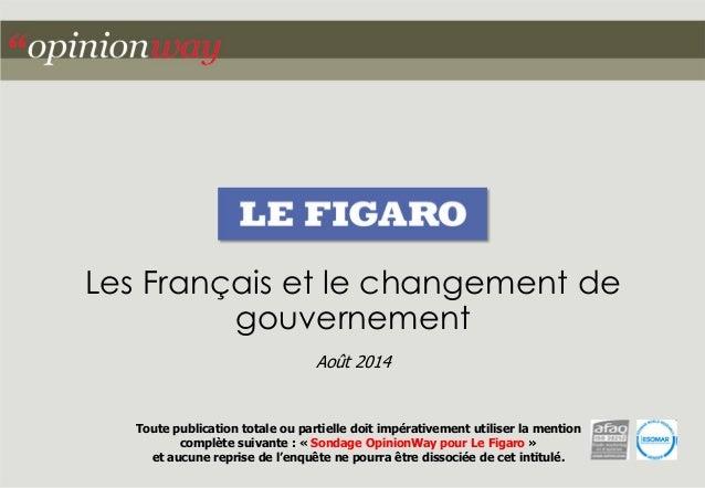 Les Français et le changement de gouvernement Août 2014 Toute publication totale ou partielle doit impérativement utiliser...