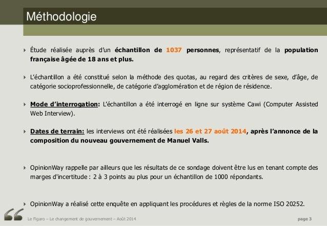 Sondage OpinionWay pour Le Figaro - Le changement de gouvernement - Août 2014 Slide 3