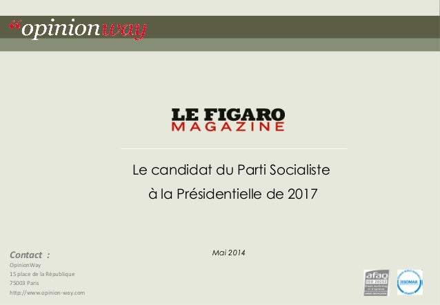 Contact  :  OpinionWay  15  place  de  la  République  75003  Paris  h<p://www.opinion-­‐way.com  Le candidat du Parti Soc...