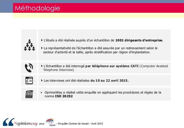Sondage opinionway pour le medef   enquête contrat de travail - avril 2015 Slide 3