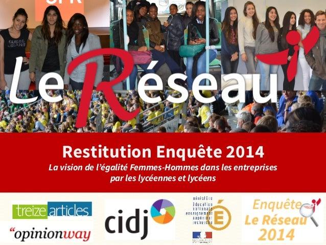 Restitution Enquête 2014  La vision de l'égalité Femmes-Hommes dans les entreprises  par les lycéennes et lycéens  #Enquet...