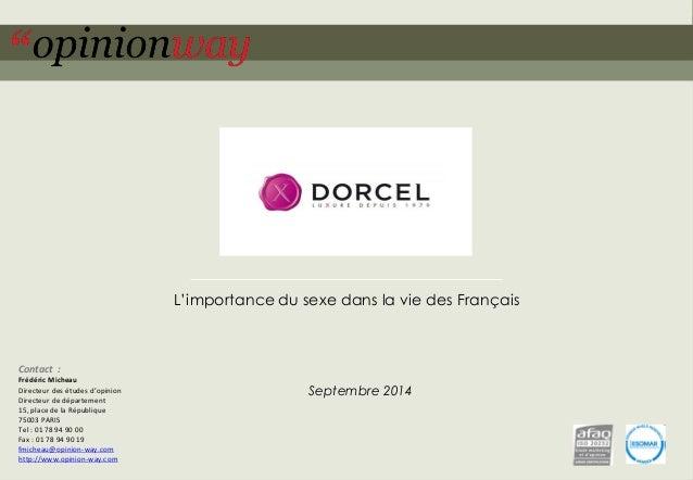 1  pour Marc Dorcel–L'importance du sexe dans la vie des Français –Septembre 2014  L'importance du sexe dans la vie des Fr...