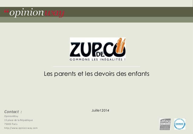 Contact :  OpinionWay  15 place de la République  75003 Paris  http://www.opinion-way.com  Les parents et les devoirs des ...