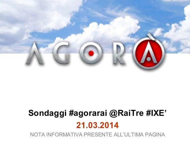 Sondaggi #agorarai @RaiTre #IXE' 21.03.2014 NOTA INFORMATIVA PRESENTE ALL'ULTIMA PAGINA