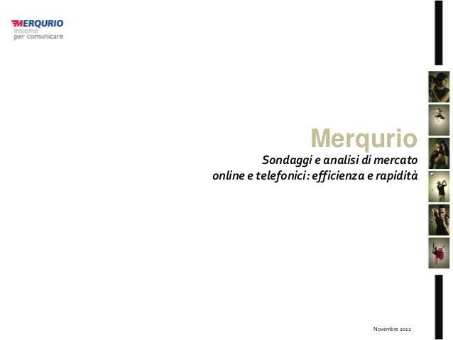 Merqurio          Sondaggi e analisi di mercatoonline e telefonici: efficienza e rapidità                                 ...