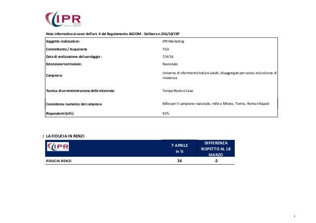 Nota informativa ai sensi dell'art. 4 del Regolamento AGCOM - Delibera n.256/10/CSP Soggetto realizzatore: IPR Marketing C...