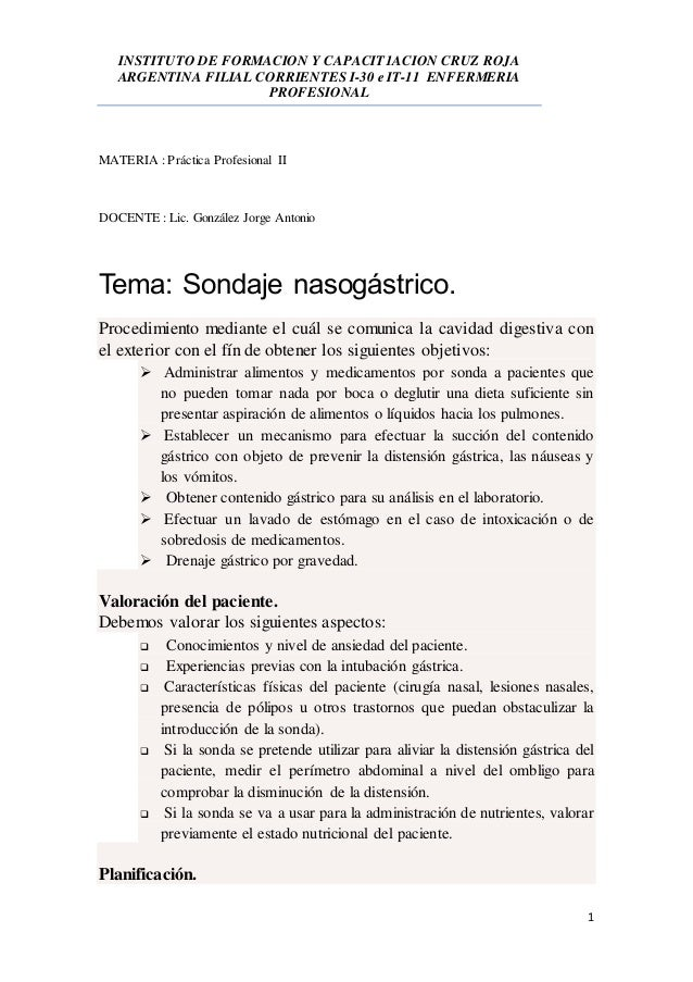 INSTITUTO DE FORMACION Y CAPACIT1ACION CRUZ ROJA ARGENTINA FILIAL CORRIENTES I-30 e IT-11 ENFERMERIA PROFESIONAL 1 MATERIA...