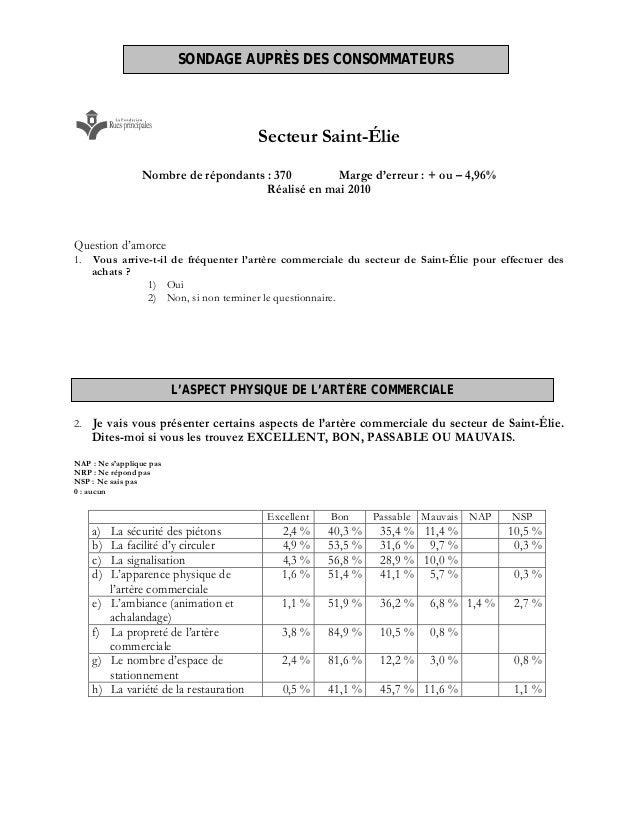 Secteur Saint-Élie Nombre de répondants : 370 Marge d'erreur : + ou – 4,96% Réalisé en mai 2010 Question d'amorce 1. Vous ...