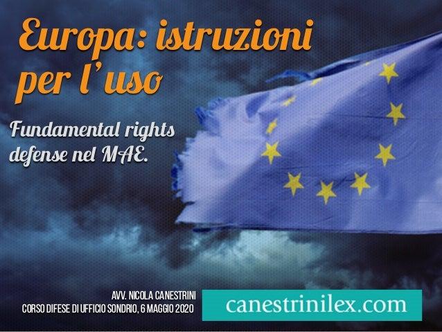 Europa: istruzioni per l'uso Avv. Nicola Canestrini corso difese di ufficio Sondrio, 6 maggio 2020 Fundamental rights defe...