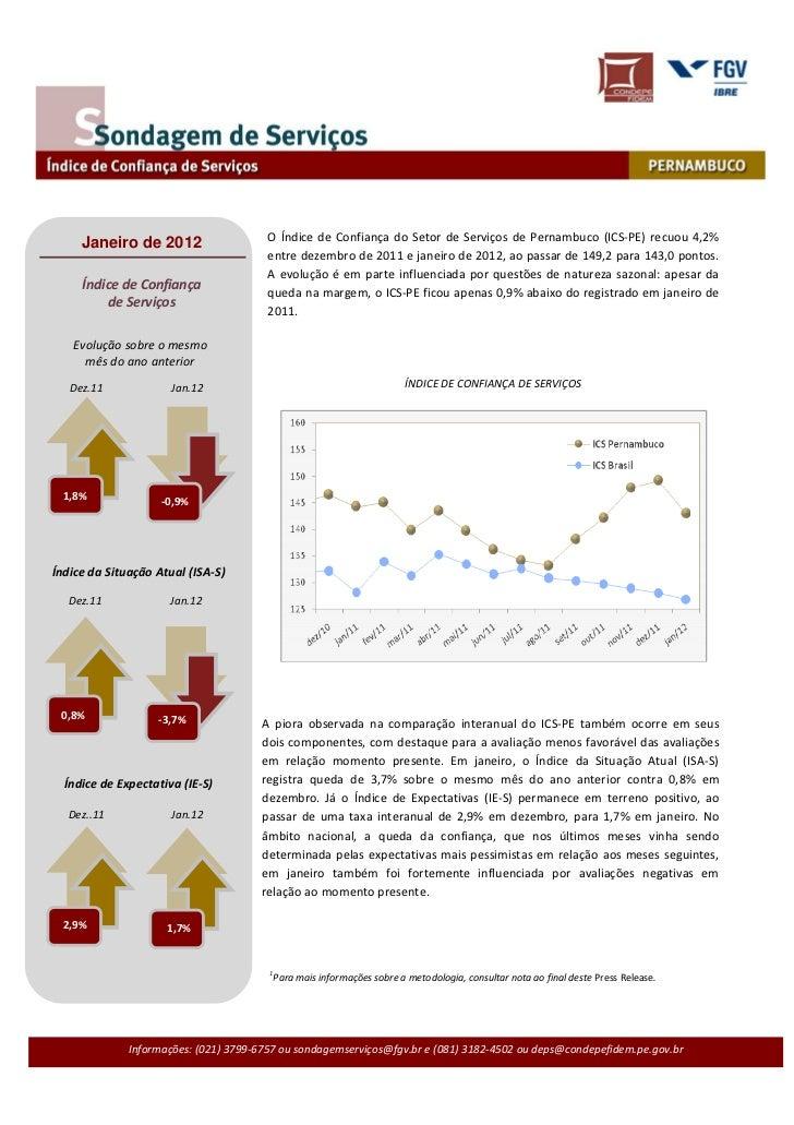 O Índice de Confiança do Setor de Serviços de Pernambuco (ICS-PE) recuou 4,2%     Janeiro de 2012                         ...