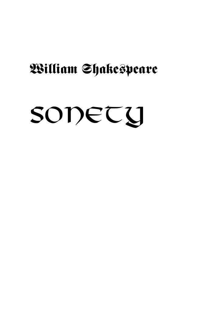 William Shakespeare   SONETY