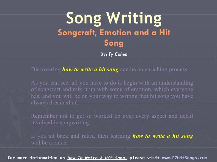 the process involved in writing a song I actually used your example of applying the framework to a song in one of my classes where quite a few of the teens have a tendency to do other things instead of.