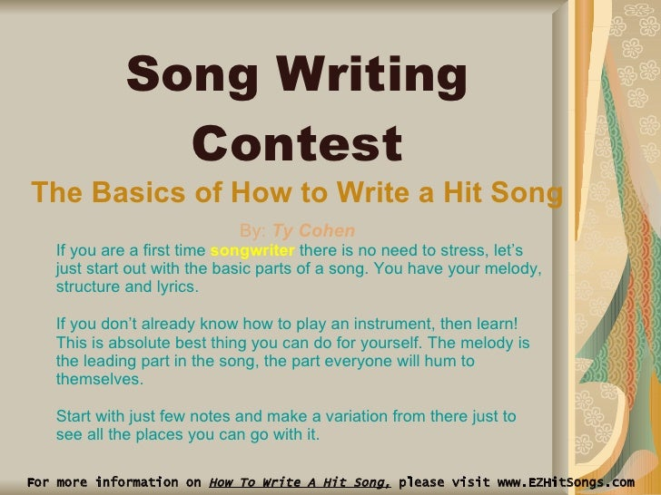 music essay contest An essay is, generally, a piece of writing that gives the author's own argument — but the definition is vague,  music in the realm of music,.