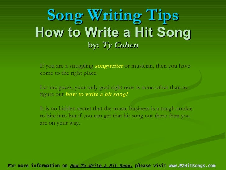 how do you write a song The very first thing you need to do is pick a key for your song the key of the song is the scale that your chord progression and melodies will be based on i am going to use c major for an example, because it is an easy scale to work with.