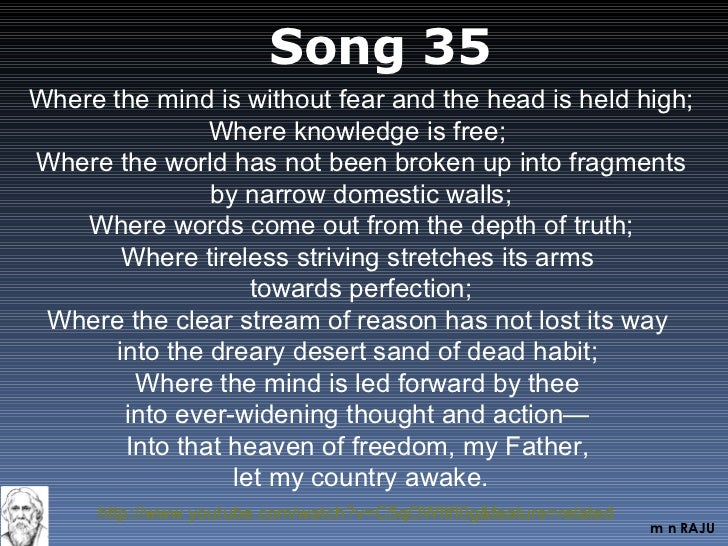 song 36 of gitanjali Tagore's gitanjali is a collection of 108 poems gitanjali is a collection gitanjali is a collection of poems originally in bengali and are translated into english.
