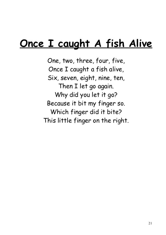 Language centre west primary school page 7 for Once i caught a fish alive