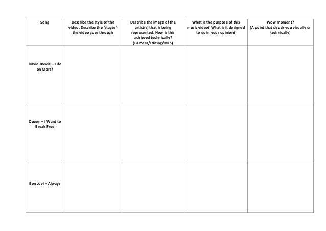 song comparison worksheet