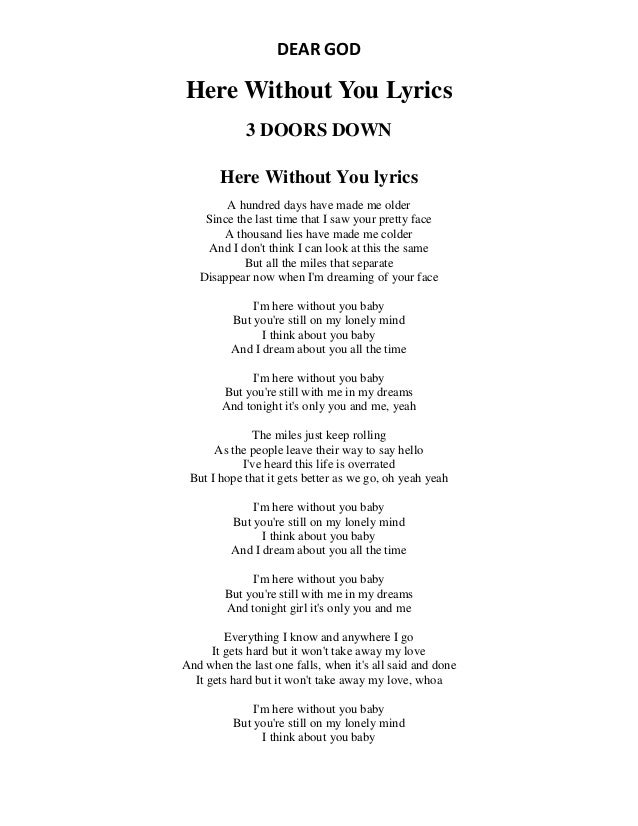 DEAR GOD Here Without You Lyrics 3 DOORS DOWN Here Without You lyrics A hundred days