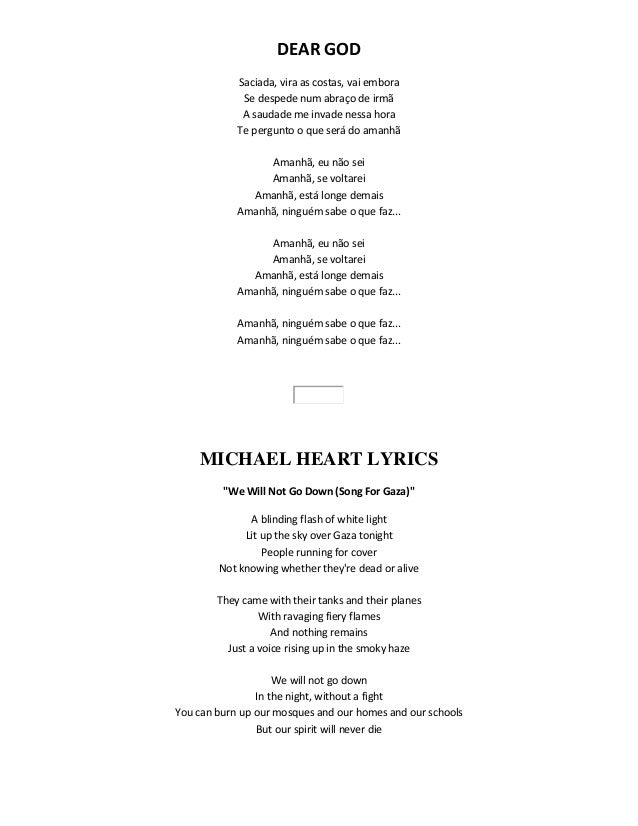 Michael Heart - We Will Not Go Down (Song for Gaza) Lyrics ...