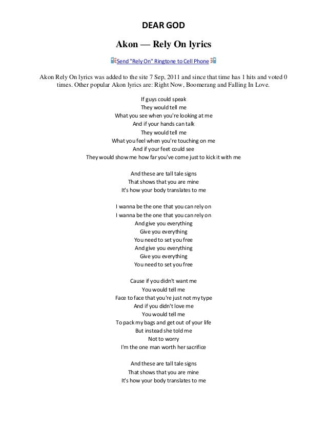 Akon - Rely On Lyrics | MetroLyrics