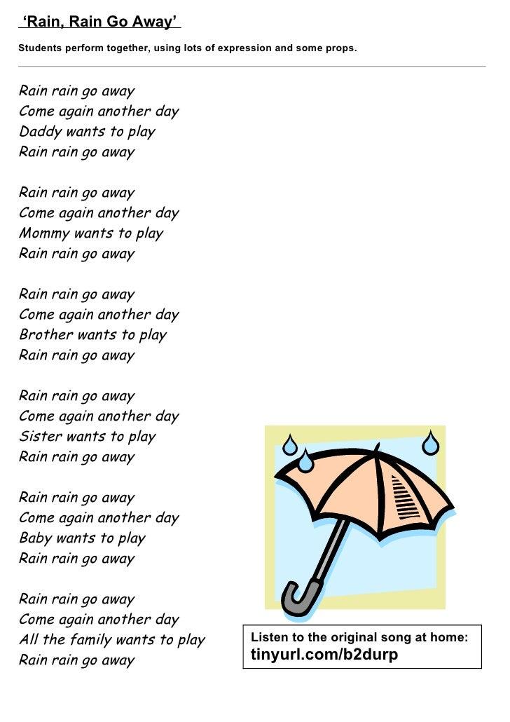 Lyric rain rain go away lyrics : Tom's TEFL - 35 Children's Songs