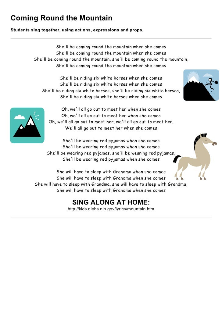 Lyric song lyrics with mountain : Tom's TEFL - 35 Children's Songs