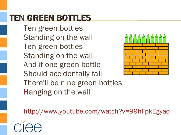 Resultado de imagen de ten green bottles lyrics