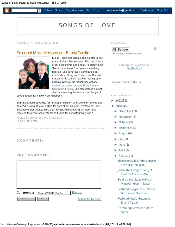 Songs of Love: Featured Music Messenger - Eliana Tardio                                      Follow   Share     Report Abu...