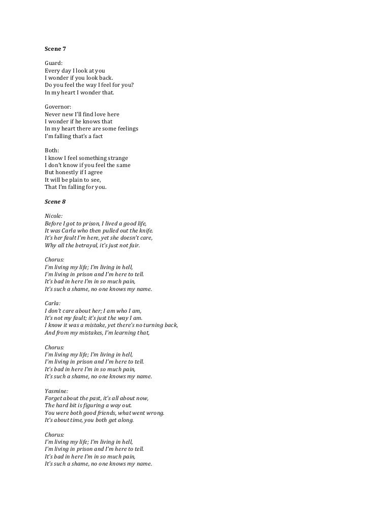 Song lyrics which I composed music for