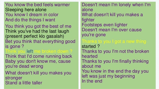 Song Lyrics Meaning and it's Tenses
