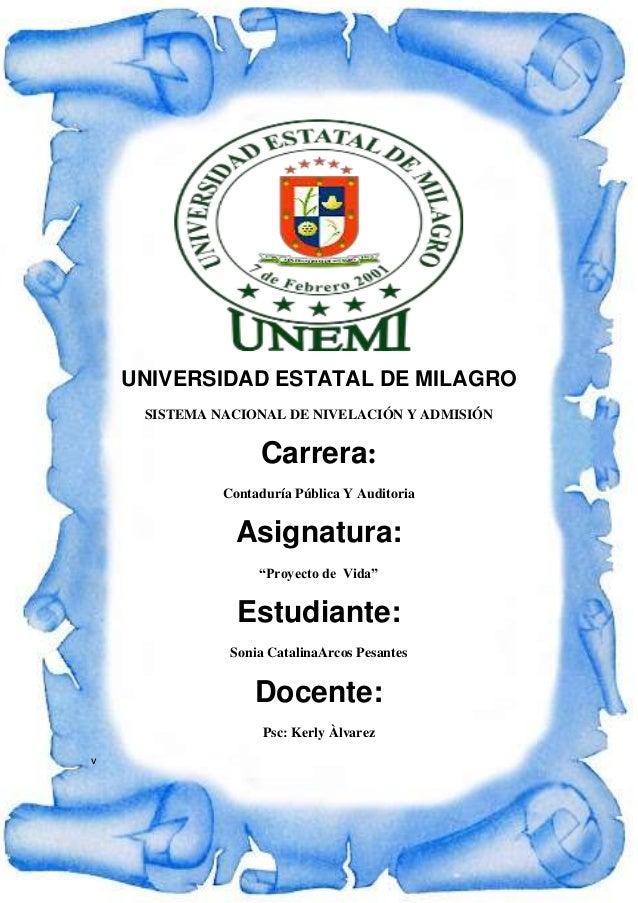 UNIVERSIDAD ESTATAL DE MILAGRO SISTEMA NACIONAL DE NIVELACIÓN Y ADMISIÓN Carrera: Contaduría Pública Y Auditoria Asignatur...
