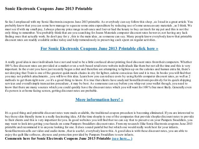 picture relating to Sonic Printable Coupon titled Sonic electronix discount codes june 2013 printable
