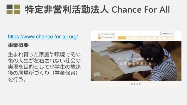 https://www.chance-for-all.org/ 事業概要 生まれ育った家庭や環境でその 後の人生が左右されない社会の 実現を目的として小学生の放課 後の居場所づくり(学童保育) を行う。 特定非営利活動法人 Chance For...