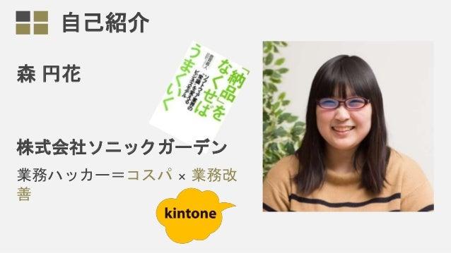 自己紹介 森 円花 株式会社ソニックガーデン 業務ハッカー=コスパ × 業務改 善