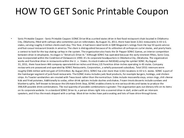 photo relating to Sonic Printable Coupon named Sonic Printable Coupon - Sonic Printable Coupon Code