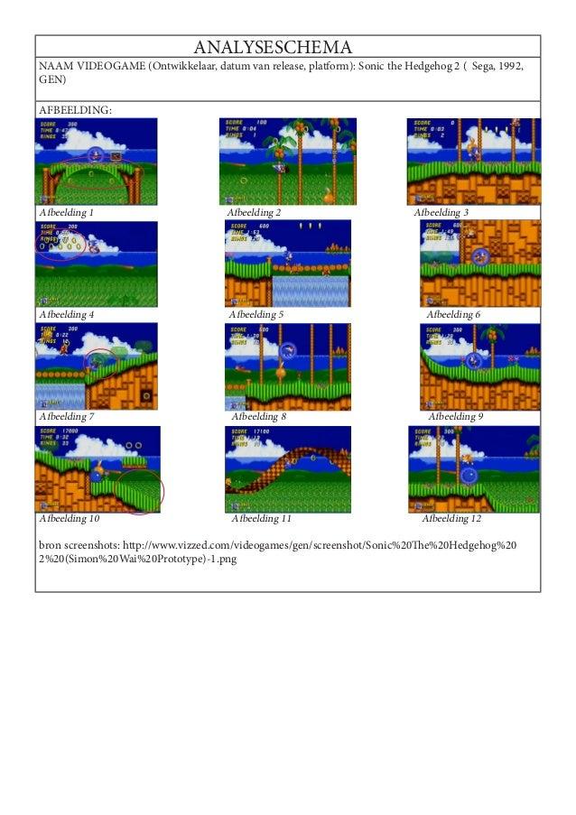 ANALYSESCHEMANAAM VIDEOGAME (Ontwikkelaar, datum van release, platform): Sonic the Hedgehog 2 ( Sega, 1992,GEN)AFBEELDING:...