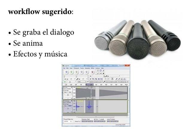 workflow sugerido: • Se graba el dialogo • Se anima • Efectos y música