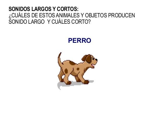 SONIDOS LARGOS Y CORTOS:¿CUÁLES DE ESTOS ANIMALES Y OBJETOS PRODUCENSONIDO LARGO Y CUÁLES CORTO?                    PERRO
