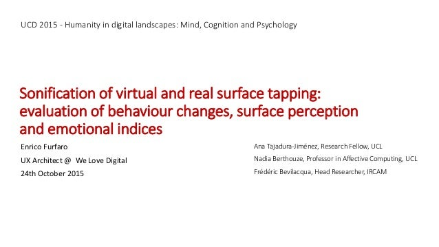 Sonification of virtual and real surface tapping: evaluation of behaviour changes, surface perception and emotional indice...
